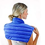 Huggaroo Weighted Heating Pad for Neck and Shoulders | Microwavable and Cordless | Features Lavender Aromatherapy | Blue