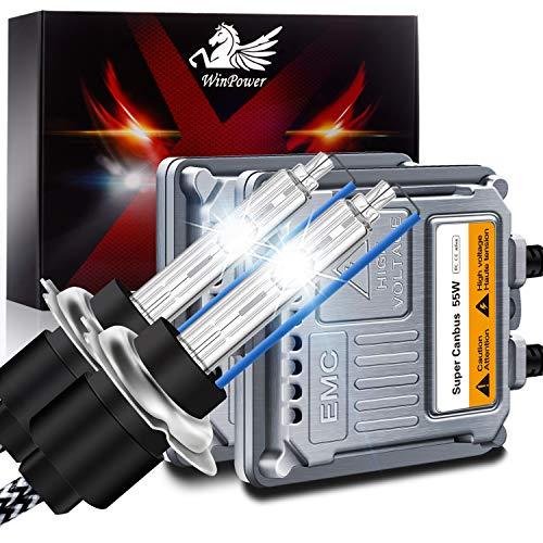 WinPower H7 Xenon Birne 55W Scheinwerfer-Umrüstsatz mit CANBus-Decoder HID-Vorschaltgerät 8000K Eisblau Hohe Helligkeit Fernlicht/Abblendlicht, 2 Stück