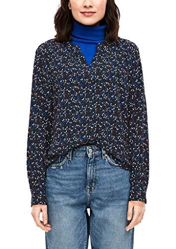 s.Oliver RED Label Damen Bluse mit Blumenmuster Navy minimal AOP 38