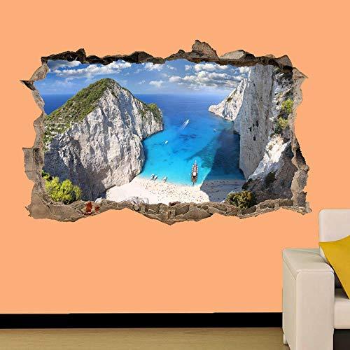 HQSM Pegatinas de pared Grecia Zakynthos Etiqueta de la pared de la playa Mural de arte 3D Oficina Decoración del hogar
