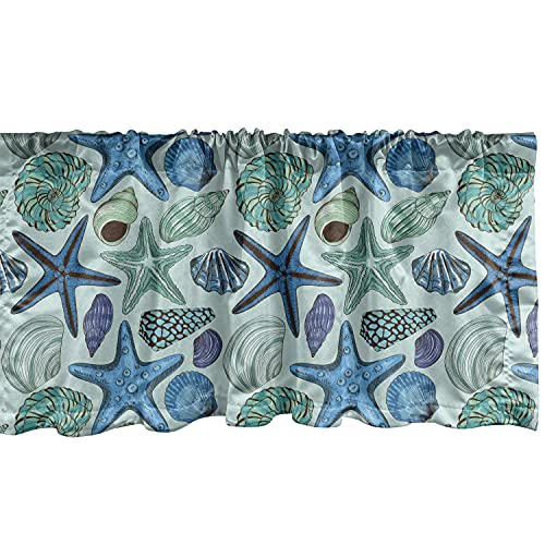 """Ambesonne Starfish Window Valance, Aquarium Inspired Composition Tropical Seashells and Scallops Cockles and Clams, Curtain Valance for Kitchen Bedroom Decor with Rod Pocket, 54"""" X 12"""", Blue Seafoam"""