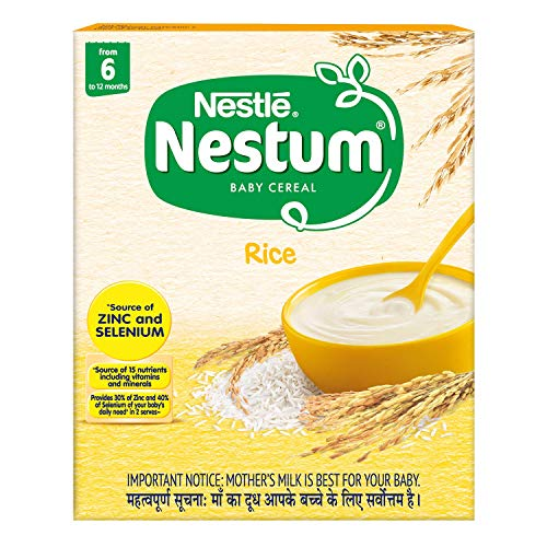 Nestlé NESTUM Baby Cereal – From 6 to 12 months, Rice, 300g Bag-in-Box Pack