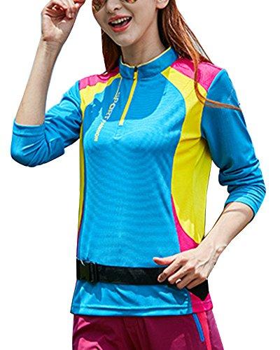 Homme Femme Manches Longues Chemises T-Shirts De Sport Séchage Rapide Respirant Outdoor Escalade Tops Haut Lac Bleu Femmes L