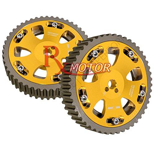 Rxmotor Mitsubishi 2.0L 4G63 Engines Adjustable Cam Gear Pulley Bolt-On DOHC (gold)