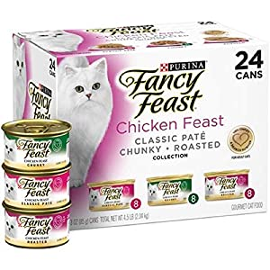Purina Fancy Feast Classic Pate Collection Feast Adult Wet Cat Food (3 Flavor Chicken Feast Pack, (24) 3 oz. Cans)