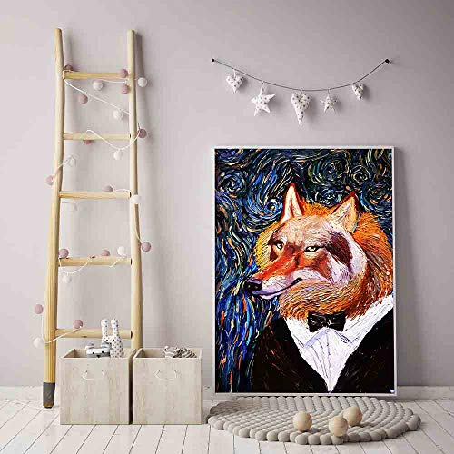 Sin Marco Christmas Animal World Posters Vincent Van Gogh Starry Night Inspirado Cat Fox Canvas ng Oil Print Picture Wall Art Decor 50x70cm