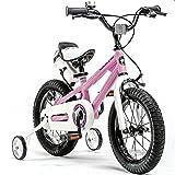 YANGMAN-L Bicicletas niños, Muchachas de los Muchachos del Estilo Libre de la Bicicleta con Ruedas de Entrenamiento y Bicicletas de Pata de Cabra Niño,Rosado,18inch