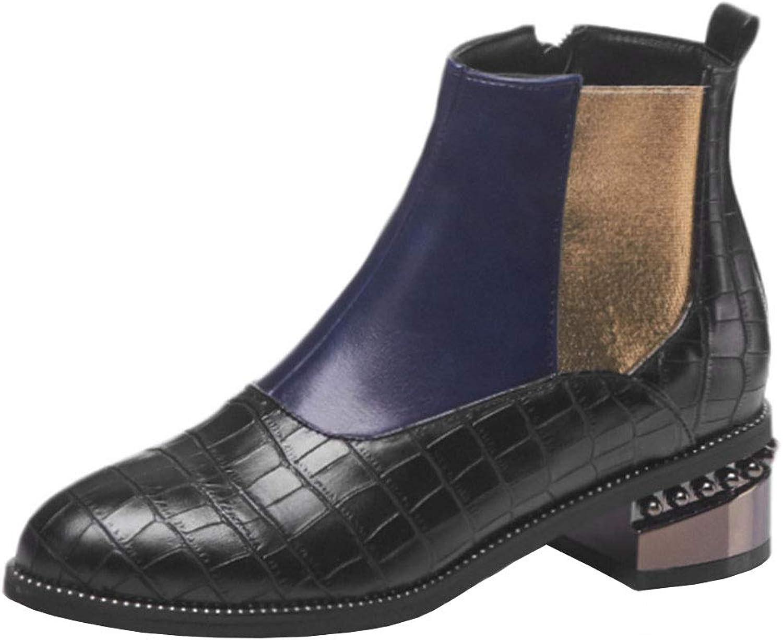 AicciAizzi Women Pointed Toe Chelsea Boots Mid Heel