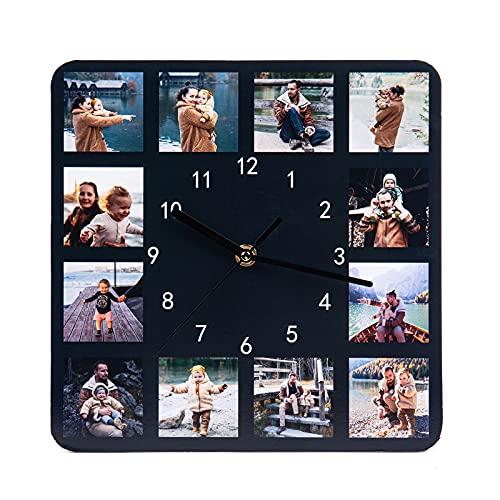 Relojes de Pared Personalizados Foto Reloj de Pared Nombre Personalizado Reloj de Pared Decorativo Hogar para Padre Madre Pareja Familia Dia del Padre Cumpleaños Aniversario Regalo (12 Foto)
