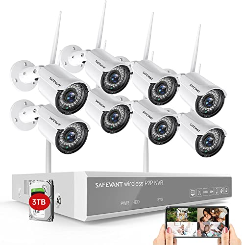 1080P Wireless Security Camera System,SAFEVANT 8 Channel Outdoor...