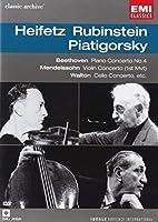 Rubinstein, Heifetz, Piatigorsky : Beethoven Piano Concerto No. 4, Mendelssohn Violin Concerto & Walton Cello Concerto (EMI Classic Archive 4) [DVD] [Import]