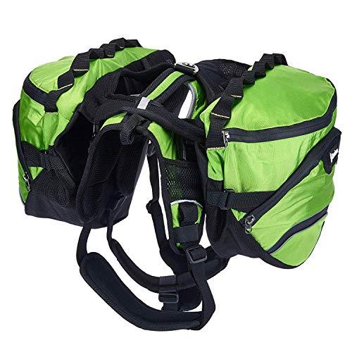 Pettom Dog Hiking Harness Backpack Pet Adjustable Removable Saddle Bag Waterproof Walking Camping Packs