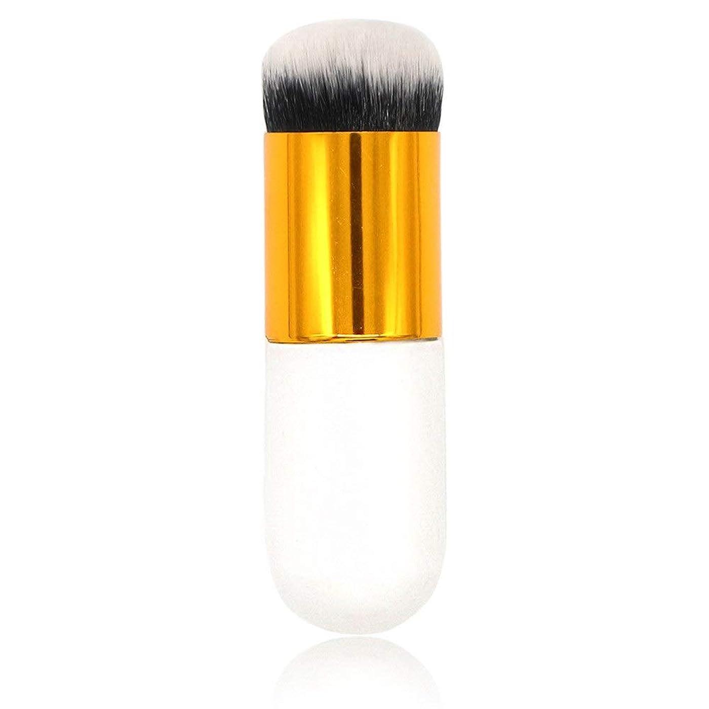 メンバー激しいメンタルMakeup brushes チャビーピアマッシュルームフレーバーレスヘッドメイクアップブラシBBクリームメイクアップブラシが食べないパウダーバウトヘッドブラシ1本 suits (Color : White Gold)