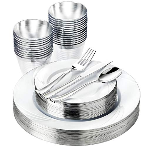 Silver Disposable Party Plates Set - 25 Guest 150 Pieces Dinnerware - Premium Heavy Duty Plastic Plates, Silverware, cups - Disposable Plates for Party, Thanksgiving, Christmas Plates, Party Plates