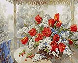 Paint by Numbers for Adults Beginner, 16x20 inches DIY Red Tulip Flower Acrylic Painting Kits On Canvas Paintwork with 3 Pcs Paint Brushes Home Wall Decor