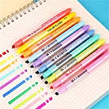 Erasable Highlighters, Double Head Smooth Writing Highlighters, Chisel Tip Assorted Colors High Lighter Markers, Double-end Erasable Highlighter Pen Markers Pastel Liquid Highlighters Color (10 Count)