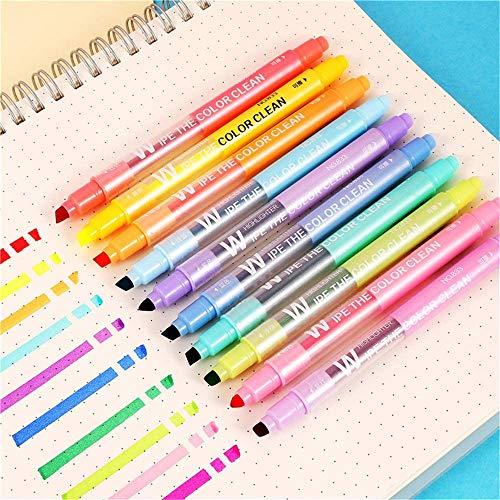 Löschbare Textmarker, Doppelkopf, glattes Schreiben, Keilspitze, verschiedene Farben, Highlighter-Marker, doppelseitig, radierbar, Pastellfarben