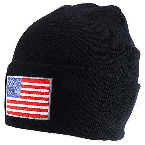 Rapid Dominance USA American Flag Embroidered Acrylic Cuff Folded Beanie Hat - Black