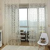 QHGstore Fresh tulle floreale porta sciarpa del voile Mantovane copre le tende di finestra pura, include unica finestra di screening, che non includono le tende bianca