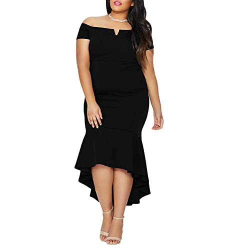 2a0b35b4db0 FUSENFENG Women s Plus Size Off Shoulder Mermaid Formal Party Long Maxi Dress  Evening Gowns
