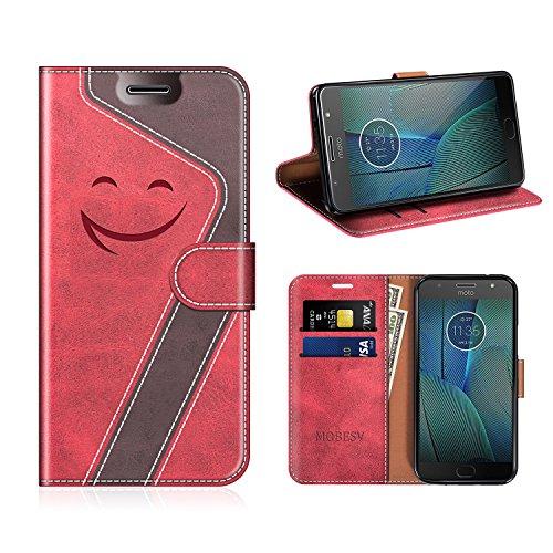 MOBESV Smiley Motorola Moto G5S Plus Hülle Leder, Motorola Moto G5S Plus Tasche Lederhülle/Wallet Hülle/Ledertasche Handyhülle/Schutzhülle für Motorola Moto G5S Plus, Rot/Dunkel Violett