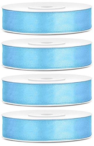 SiDeSo® Satinband 100m x 12mm (4x25m Rolle) viele Farben Hochzeit Dekoband Geschenkband Antennenband Schleifenband (Baby blau)
