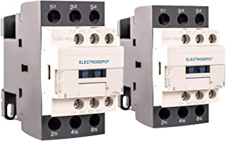 Electrodepot 30 Amp 3 Pole Normally Open IEC 660V Contactor, Auxiliary 1NO/1NC – 110/120VAC Coil, Inductive 32A, Resistive 50A with Mounting Base for DIN Rail (Pack of 2)