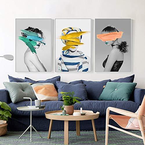 SDFSD Scandinavisch canvas wit en zwart kunstdruk poster voor meisjes abstracte foto, muur, slaapkamer, woonkamer of wand kunst 50 x 70 cm x 3
