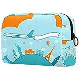 Bolsa de cosméticos de viaje portátil, bonito organizador de artículos de tocador de viaje para mujer con dibujos animados de avión