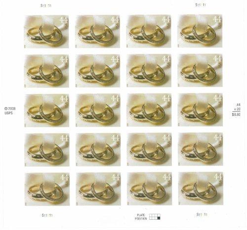 Wedding Rings Sheet of Twenty 44 Cent Stamps Scott 4397 By USPS