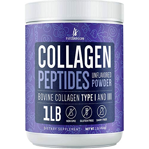 Collagen Peptides Powder for Women. Hydrolyzed Collagen Powder Types I, III Non-GMO, Grass-Fed, Gluten-Free, Unflavored - Easy to Mix Drink Promotes Healthy Hair, Skin and Nails