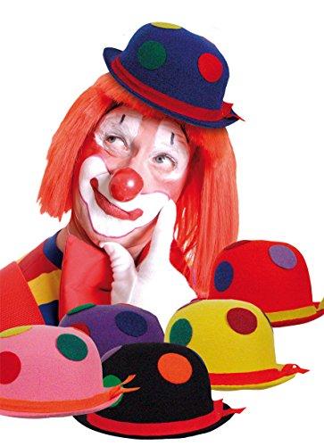Boland 04006 BOL04006 Clown Binky Bowler, Sortiert, gelb, taglia unica