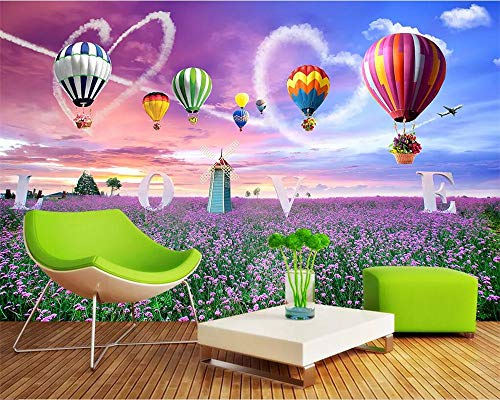 XUNZHAOYH 3D Mural Wallpaper,Purple Lavender Plant Cartoon Hot Air Balloon,Custom 3D Mural Painting On Brick Wall Photo Background Boys Adults Room Wallpaper Studio Props,(4.2X2.3) Ft