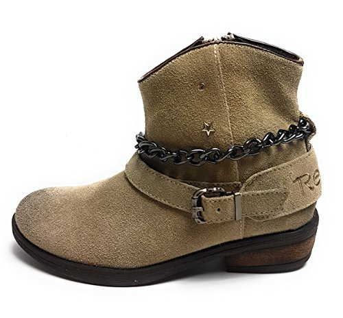 Replay Kingston Mädchen Schuhe - Stiefel - Stiefeletten - Damen Women Boots Echtleder Taupe/Beige - Gr. 34 EU