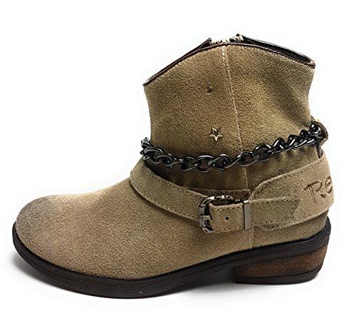 Replay Kingston Mädchen Schuhe - Stiefel - Stiefeletten - Damen Women Boots Echtleder Taupe/Beige - Gr. 35 EU