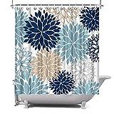ArtBones Dahlia Pinnata Flower Shower Curtain Floral Blue Bath Curtain Waterproof Polyester Fabric Bathroom Decor Set Navy Blue Grey Brown 72x72 inches