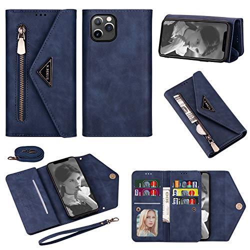 Artfeel Brieftasche Handykette Hülle Kompatibel mit iPhone 12/iPhone 12 Pro 6.1 Zoll,Leder Reißverschluss Geldbörse Umhängeband Handyhülle mit Kartenhalter,Schultergurt,Handschlaufe-Blau