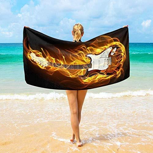 BAOYUAN0 grande telo mare in microfibra per ragazzi e ragazze viaggio chitarra asciugamano fitness asciugatura rapida coperta da picnic 100 * 200 cm miglior regalo