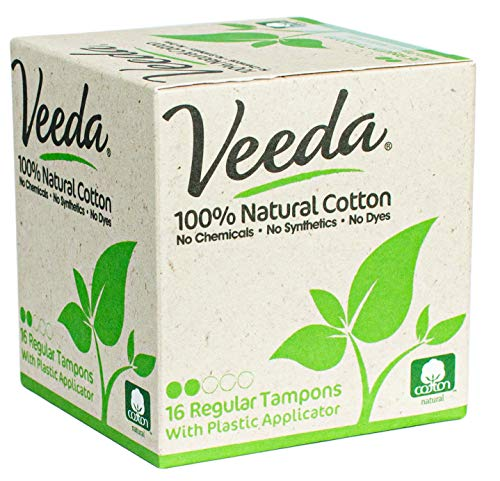 Veeda 100% Natural Cotton Compact BPA-Free Applicator Regular Tampons Chlorine, Toxin and Pesticide...