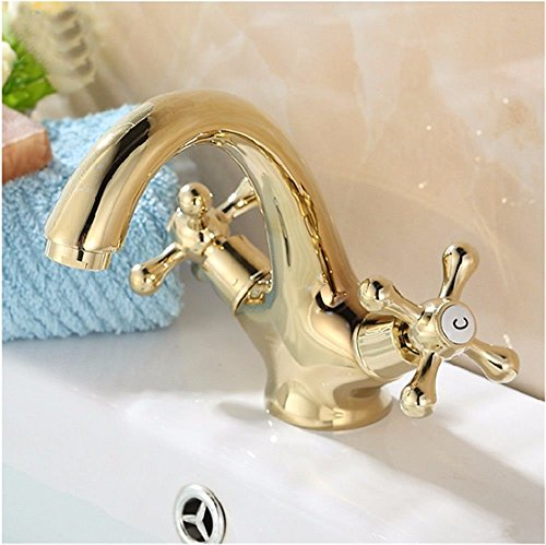 wsetrtg Grifo Mezclador para Lavabo de baño Grifo Mezclador de baño de 2 palancas de Agua fría y Caliente Chapado en Oro