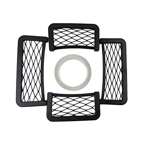 KYMY Car Storage Net Bag,Universal Black Net Car String Bag, Framed Stretch Mesh Net Pocket for Car Seat Side,Elastic Nylon Mesh Seat Back Pocket (2pcs-7.83.15 inch & 2pcs-5.93.15 inch)