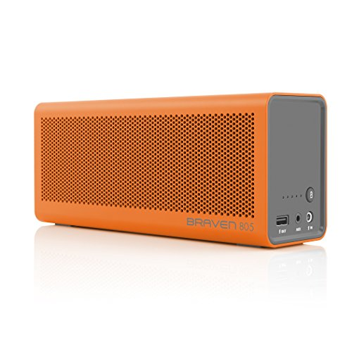 BRAVEN 805 Portable Wireless Bluetooth Speaker [18 Hour Playtime] Built-in 4400 mAh Power Bank Charger - Orange/Gray