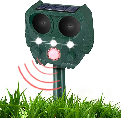 Luatuer Ultrasonic Cat Repellent, Solar Garden Cat Repeller with LED Speaker, Waterproof Chargeable Battery Pest Repellent for Cat Dog Birds Foxes Animal