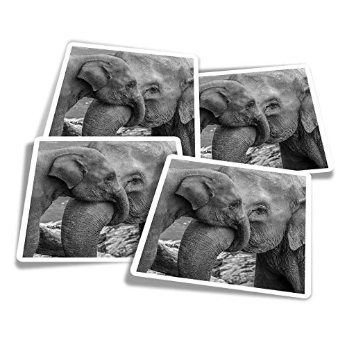 Vinyl Stickers (Set of 4) 10cm - BW - Cute Elephants Family Animal Fun Decals for Laptops,Tablets,Luggage,Scrap Booking,Fridges #39506