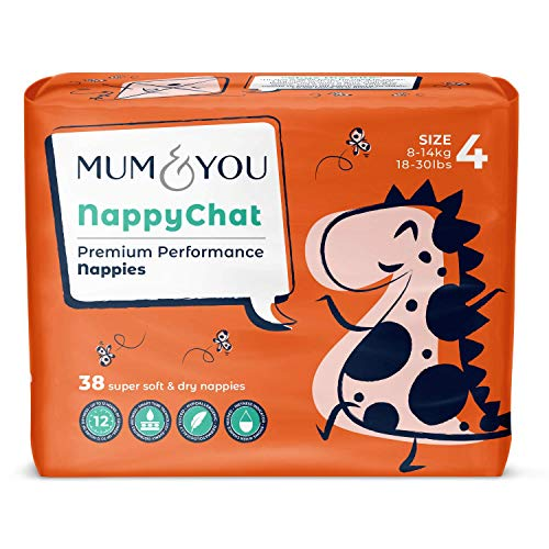 Mum & You Premium Performance Nappychat Eco-Nappies, Size 4 (38 Nappies) with Smart Tube Technology for Extra Leak Protection
