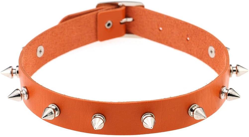 Women PU Leather Choker Necklace Girls Punk Rock Rivet Studded Collar Necklace Adjustable