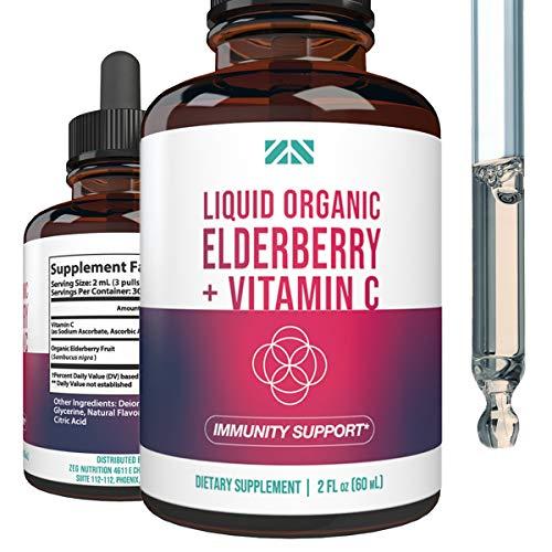 Organic Liquid Elderberry - Immune System Support Syrup - Maximum Strength 400mg Organic Sambucus Elderberry for Adults - Easy Drops Formula - 2oz - 30 Servings