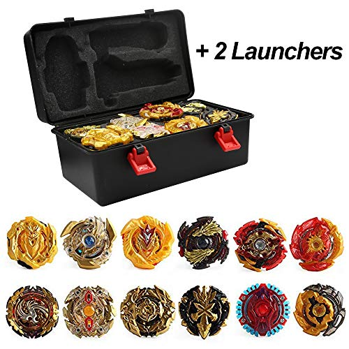 3T6B Conjunto de Peonzas Juguetes con Estuche Portátil, 12 Nuevo Nado Spinner con 2 Turbo Burst Launcher, Gyro Spinning Pocket Box