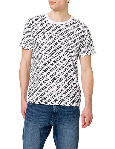 Calvin Klein Jeans AOP Diagonal tee Camiseta, Blanco Brillante, M para Hombre