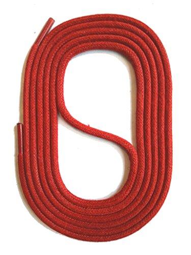 SNORS gewachste Schnürsenkel RUND ROT 130cm, 3mm, reißfest, Rundsenkel aus Baumwolle Made in Germany für Lederschuhe, Herrenschuhe, Business, Damenschuhe, Wildlederschuhe